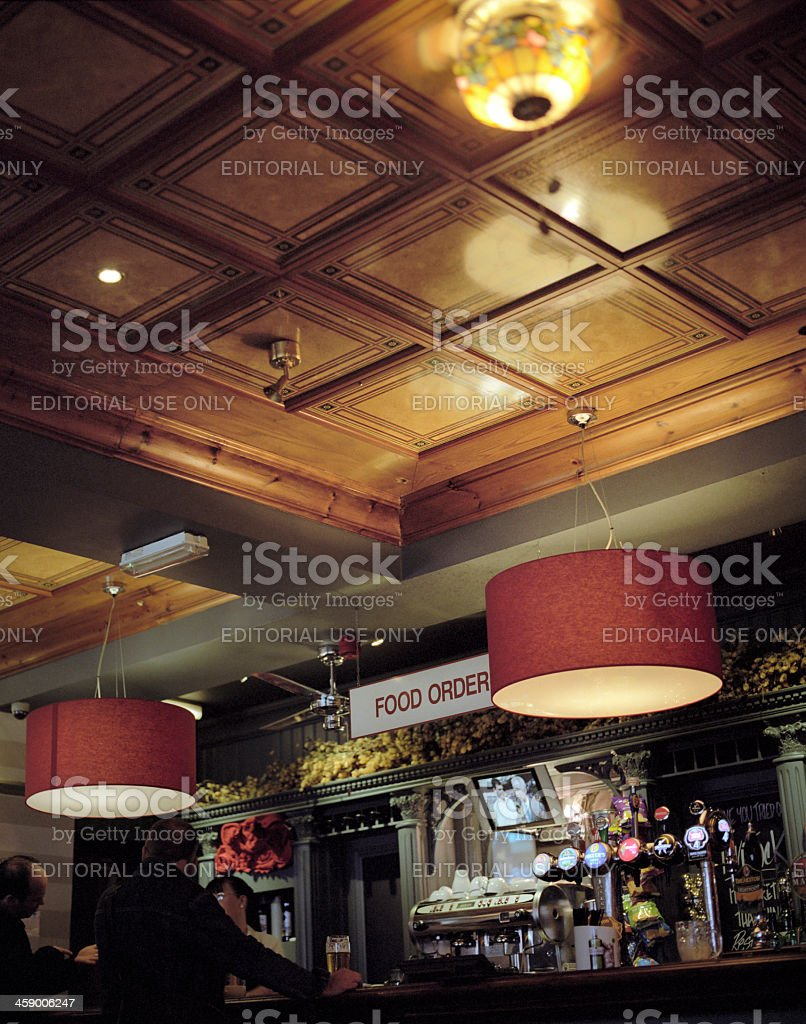 Food order point, pub interior stock photo