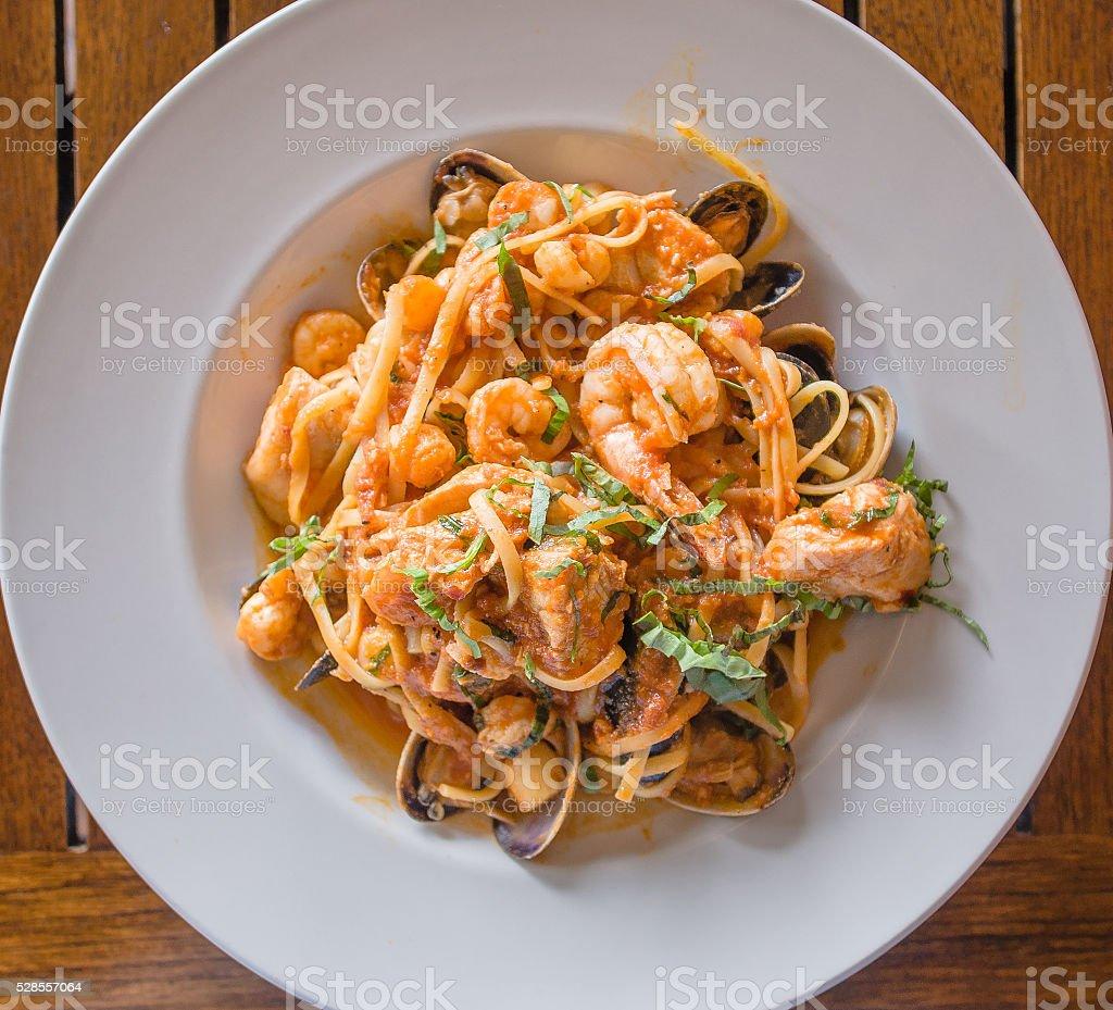Food - Pasta Seafood Linguini stock photo