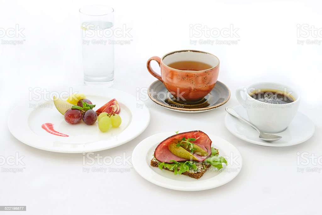 Food Photography, water, tea, coffe, fresh fruits, sandwich stock photo