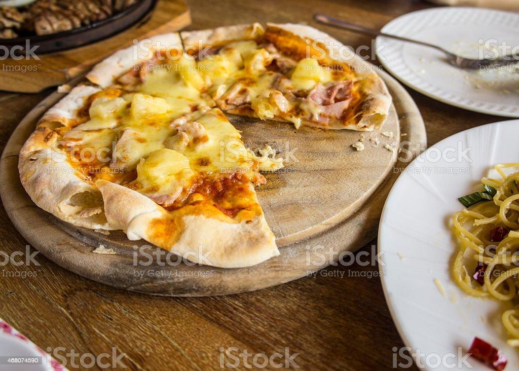 food pizza spaghetti carbonara lunch hungry dinner taste stock photo