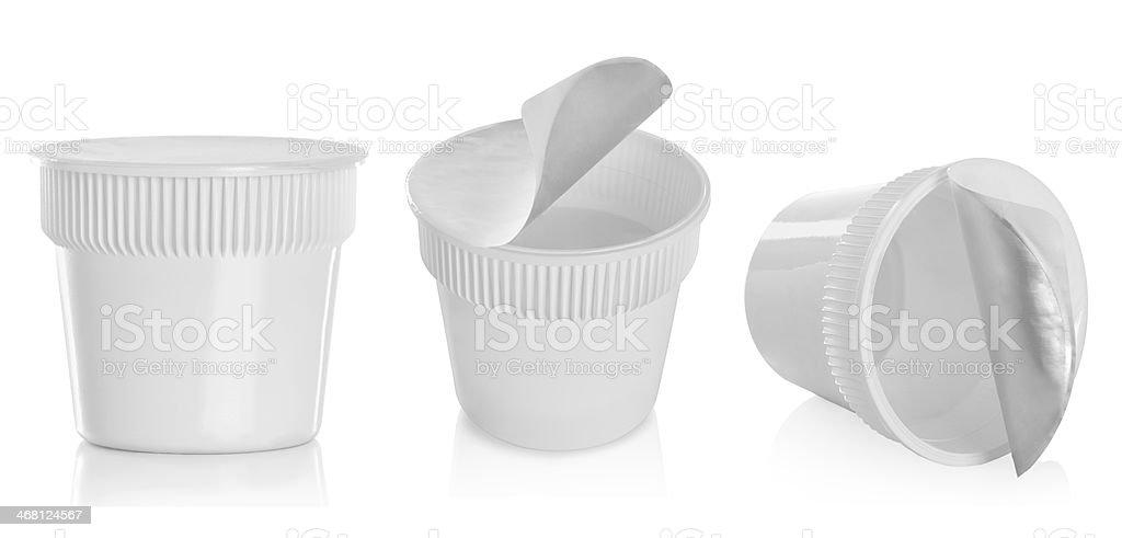 Food plastic container , dessert, yogurt, ice-cream, sour cream stock photo