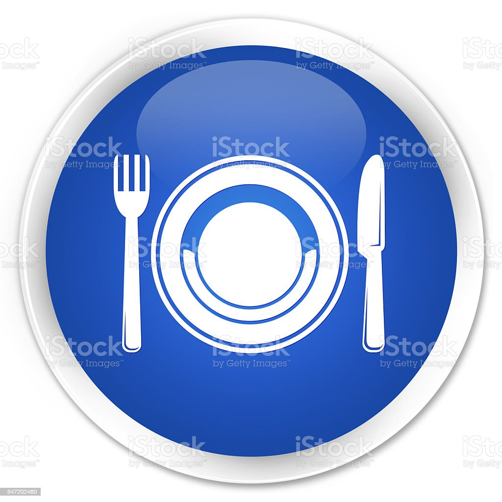 Food plate icon blue glossy round button stock photo