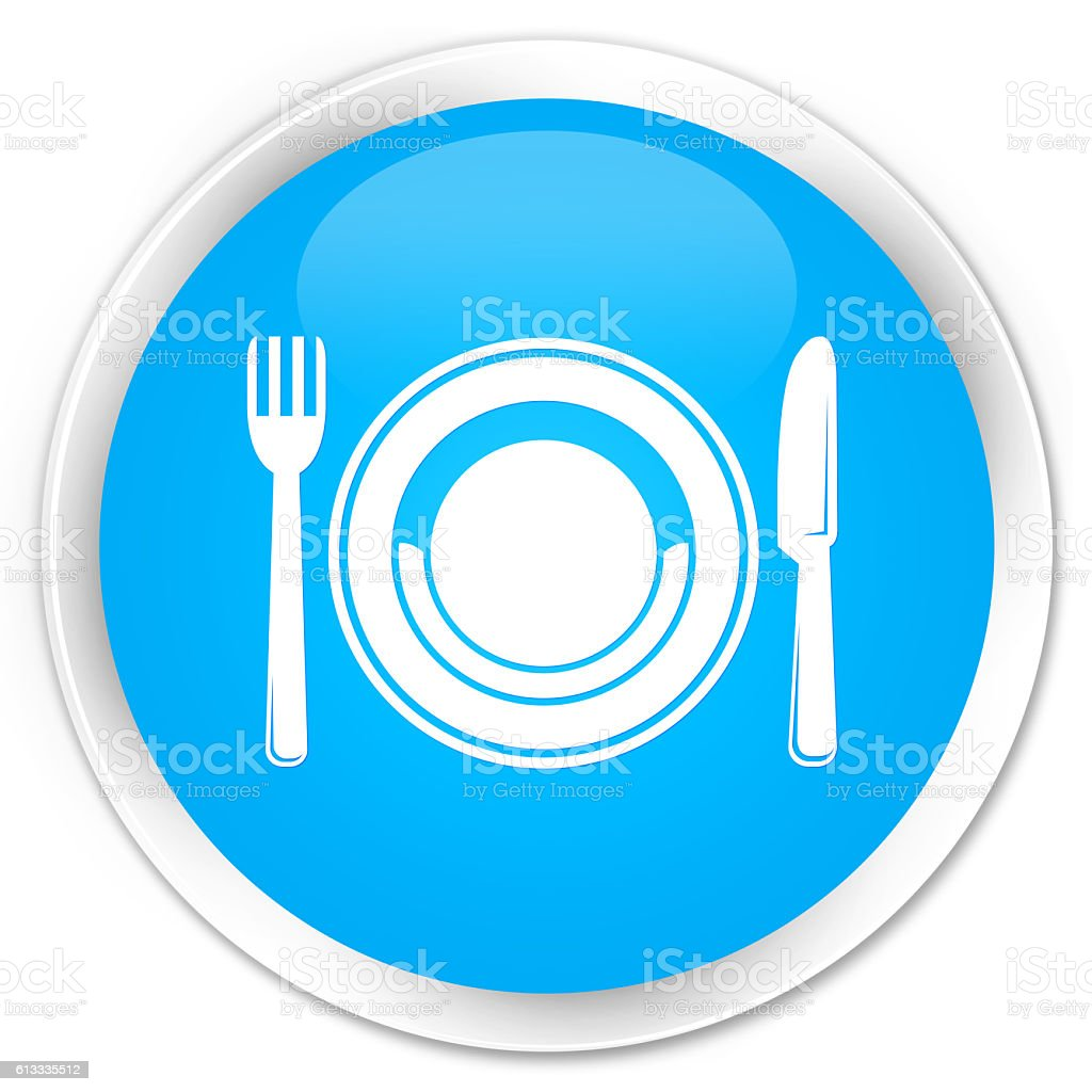 Food plate icon cyan blue glossy round button stock photo