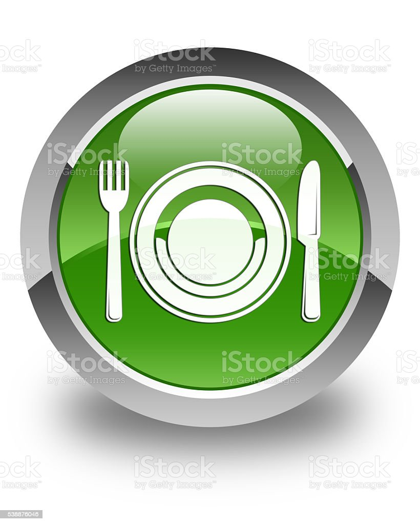 Food plate icon glossy soft green round button stock photo