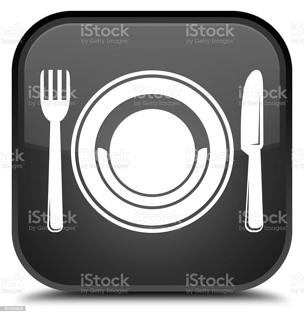 Food plate icon special black square button stock photo