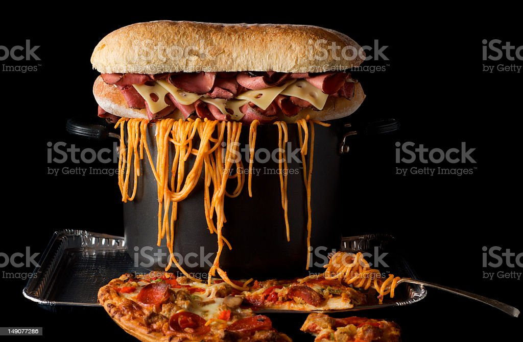 Food plate piled high stock photo