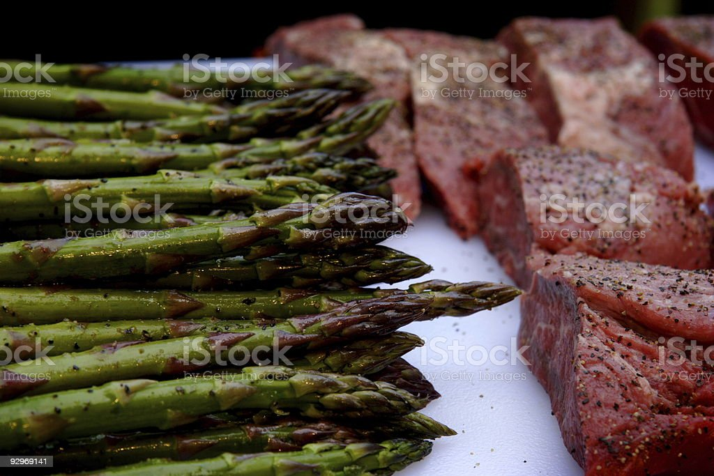 food preparation - asparagus and beef royalty-free stock photo