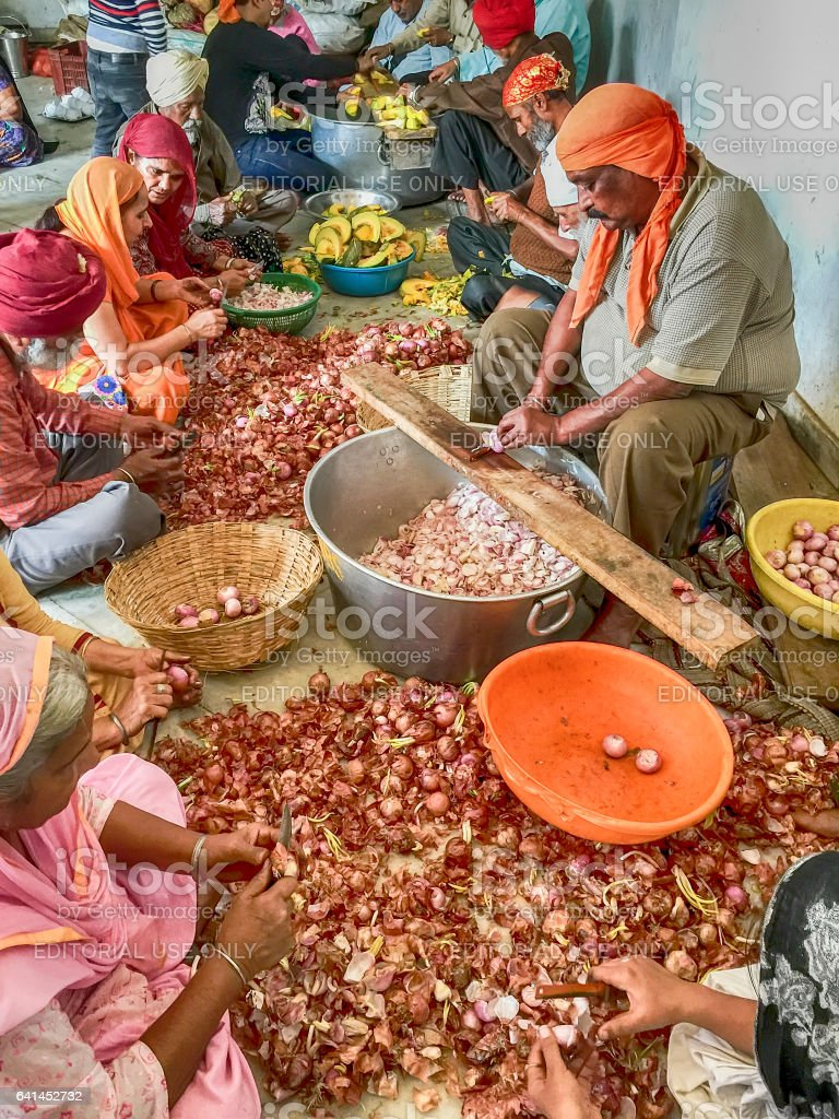 Food Preparation In A Sikh Langar stock photo