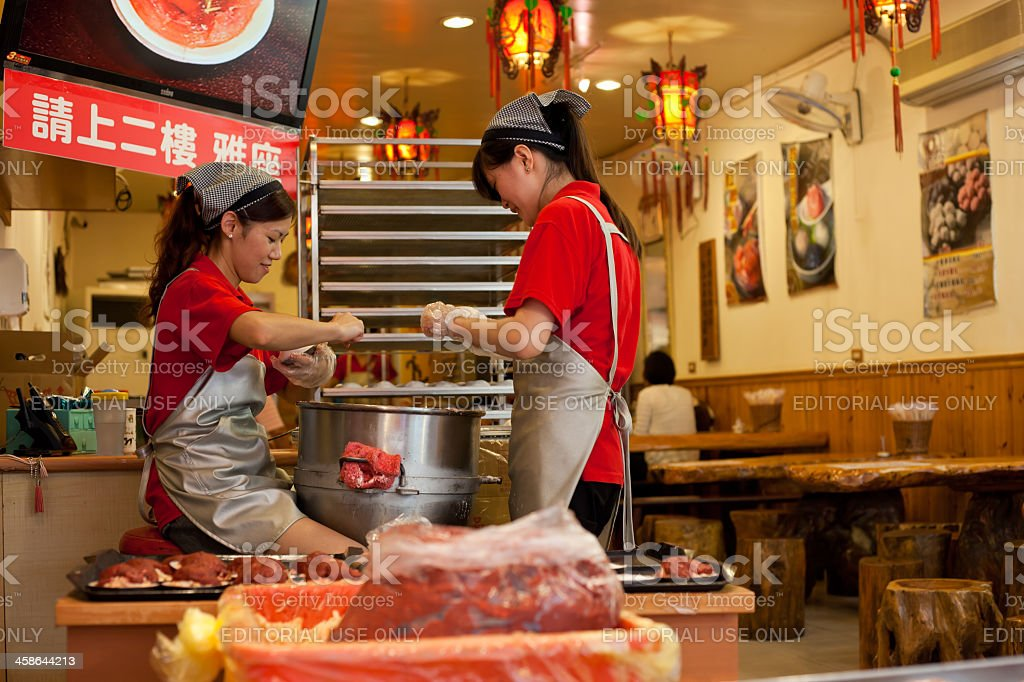 Food preparation in Chinese restaurant stock photo