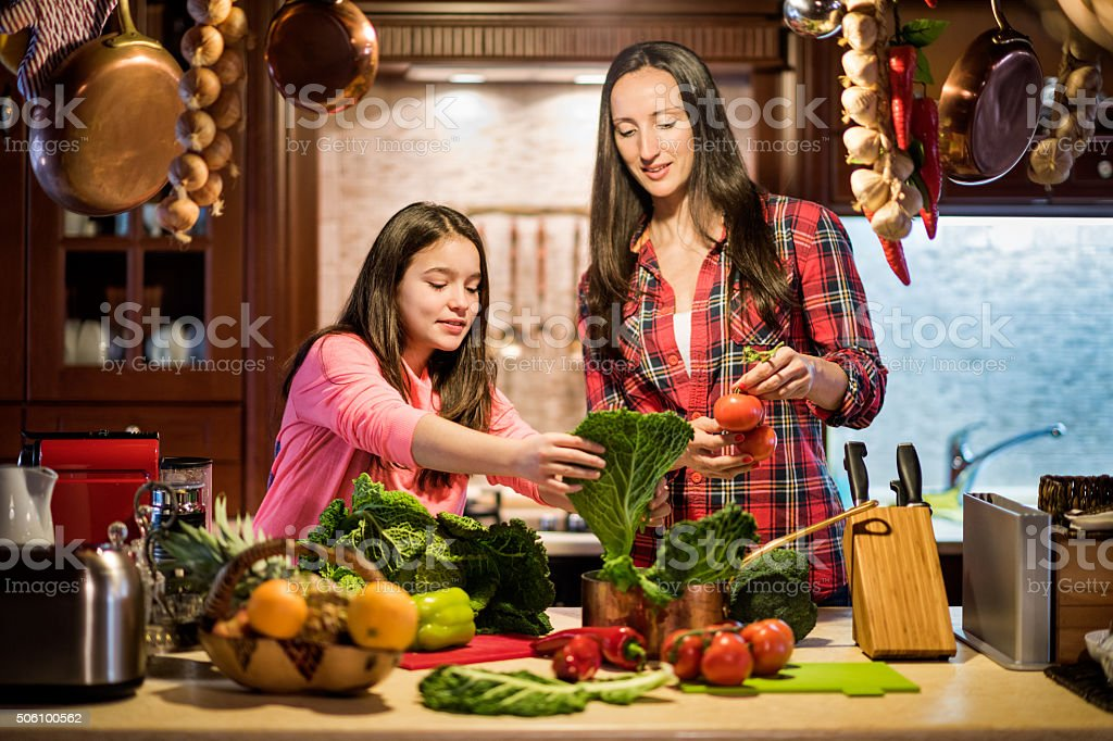 Food preparation in the kitchen stock photo