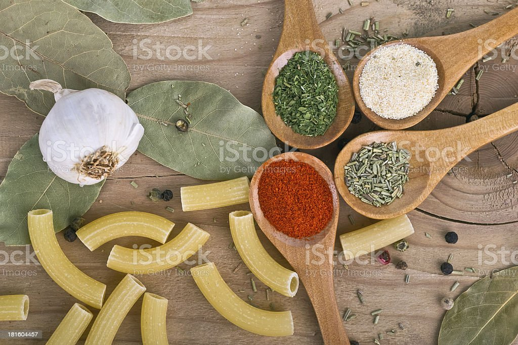 Food Preparation Spices on Wood table royalty-free stock photo