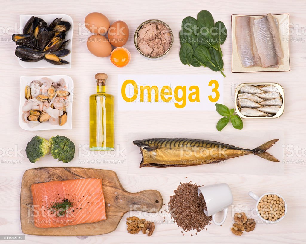 Food rich in omega 3 fatty acid stock photo