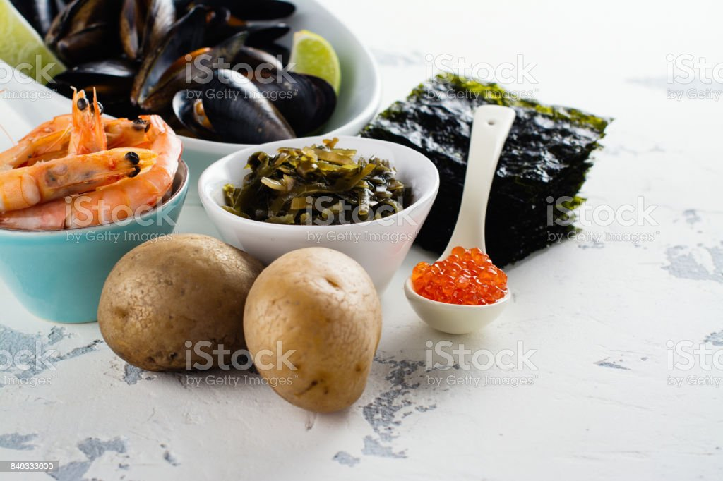 Food rich of iodine stock photo
