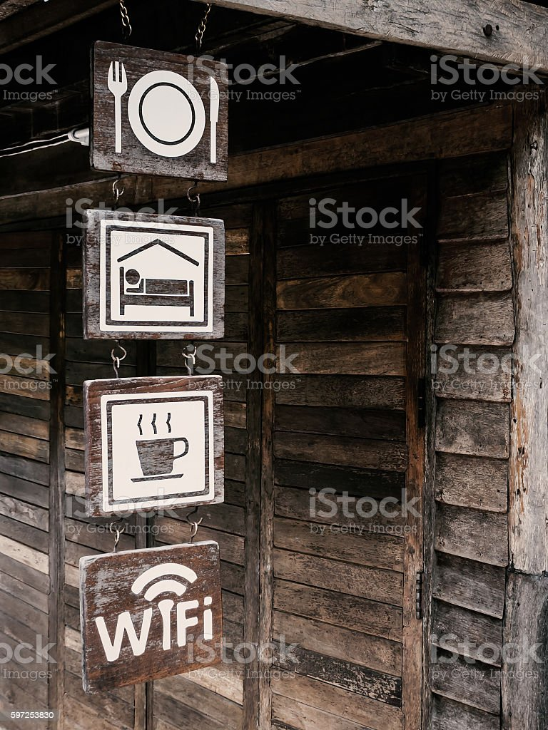 Food, Room, Drink and Free Wi-Fi sign stock photo