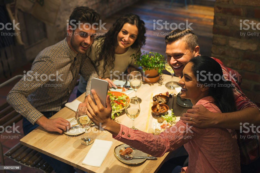 Food Selfie with Friends stock photo