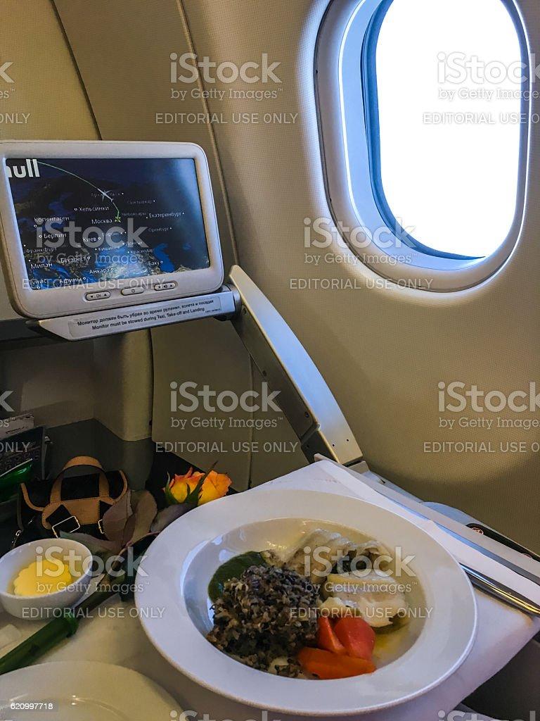 Food served on board of Aeroflot Flight stock photo