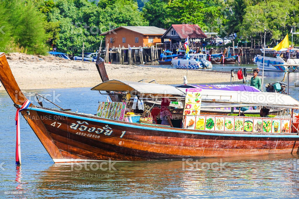 Food ship in Ao Nang in Thailand stock photo