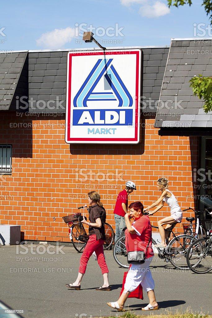 Food shopping at discounter stock photo