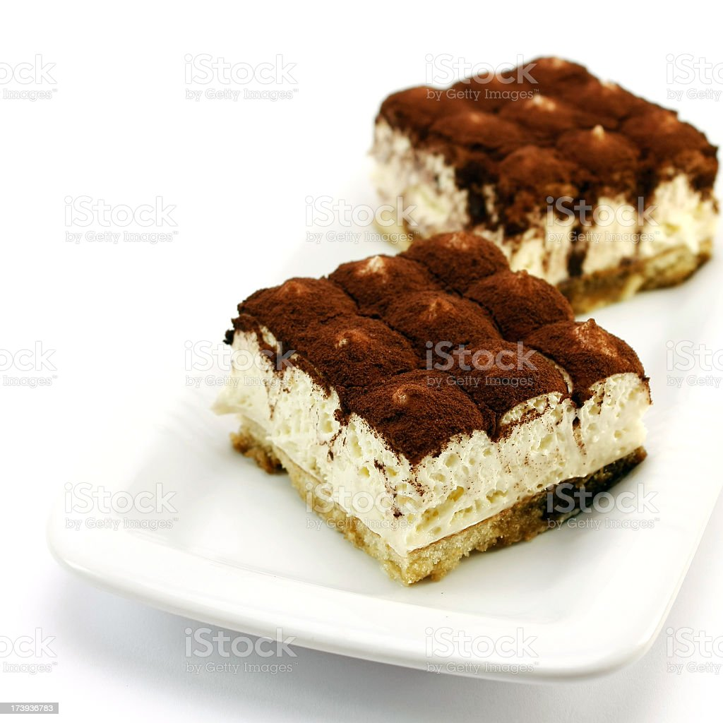 Food shot of two tiramisu cakes on a plate stock photo