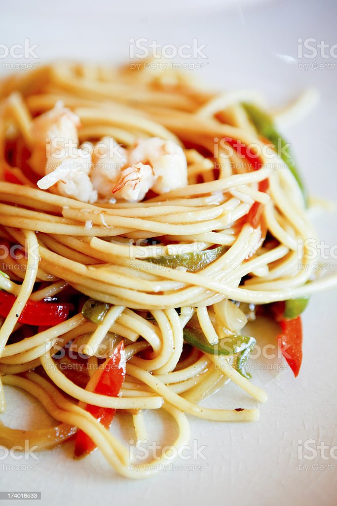 Food: Shrimp Fried Noodles royalty-free stock photo