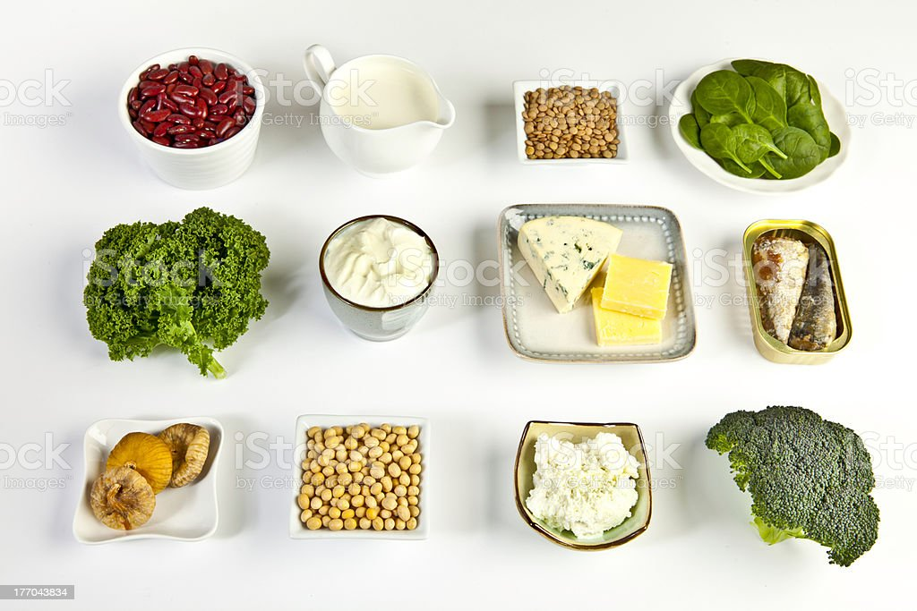 Food sources of calcium stock photo