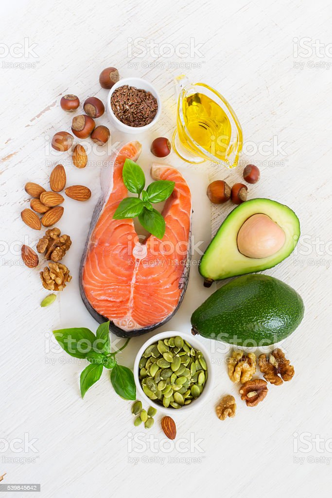 Food sources of omega 3 and healthy fats, top view stock photo