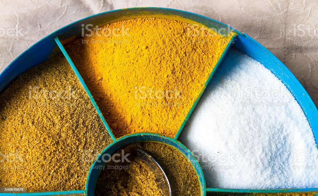 Food Spices in a Plastic pot stock photo