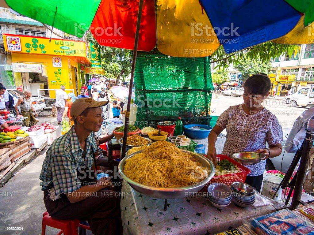 Food stall in Yangon, Myanmar stock photo