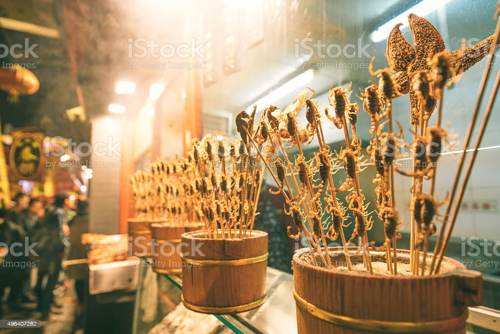 Food stall with Fried Scorpions in Beijing, China stock photo