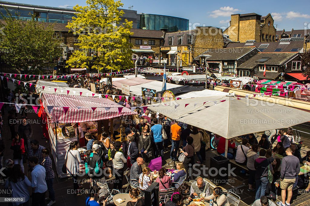 Food Stalls at Camden Market during the day stock photo