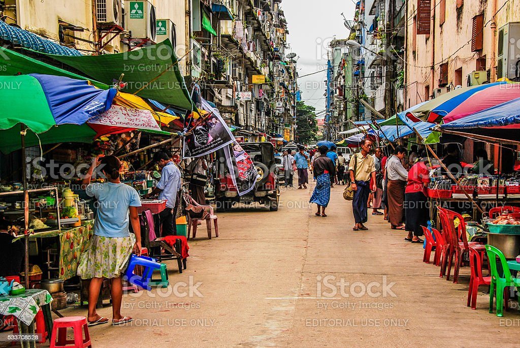 Food stalls at Yangon downtown. stock photo