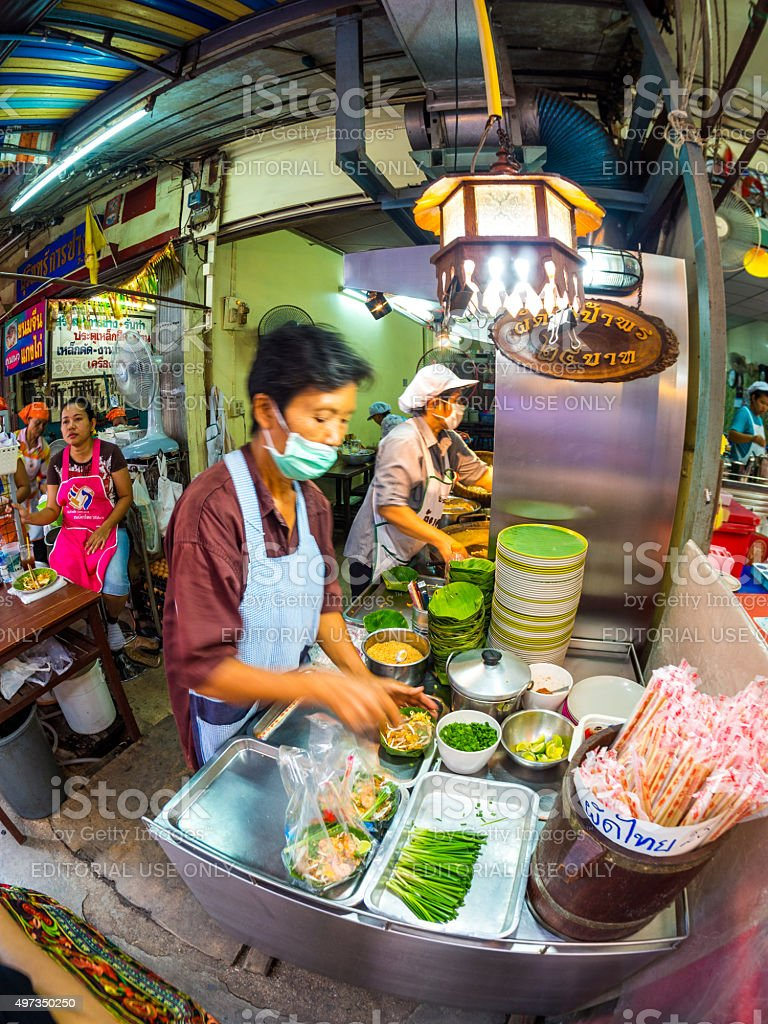 Food stand in Amphawa Floating Market stock photo