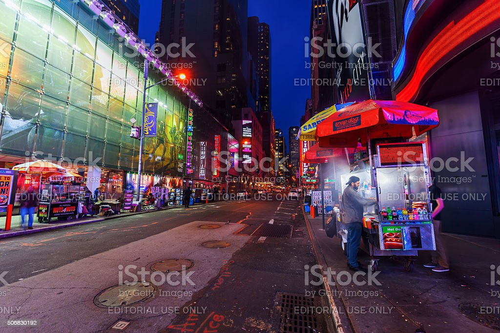 food stand in Manhattan, NYC, at night stock photo
