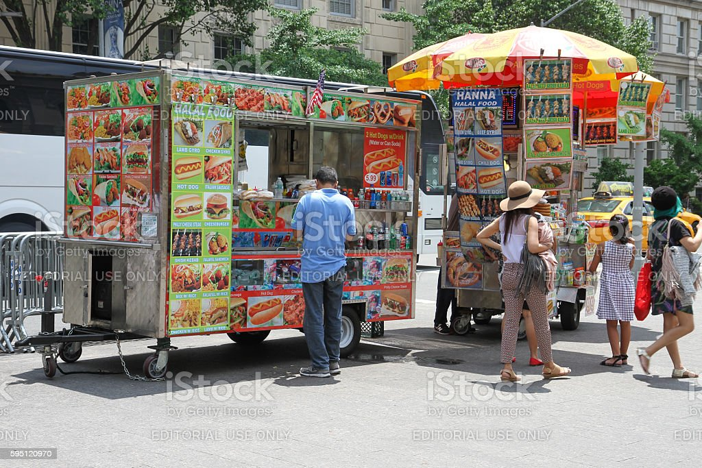 Food stand in New York stock photo