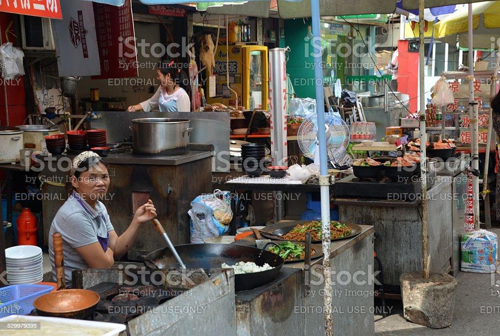 Food street, Shanghai old town stock photo