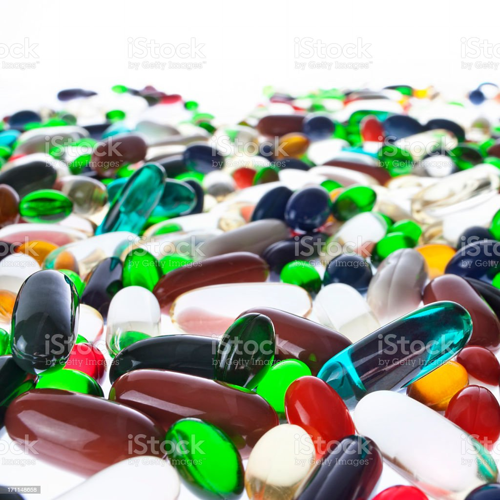 Food supplement capsules. stock photo