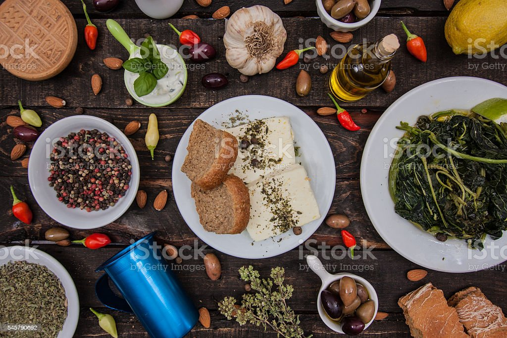 Food table with greek products stock photo