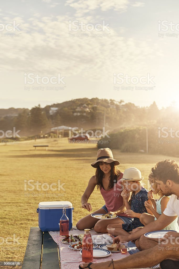 Food tastes better when you eat it with family stock photo