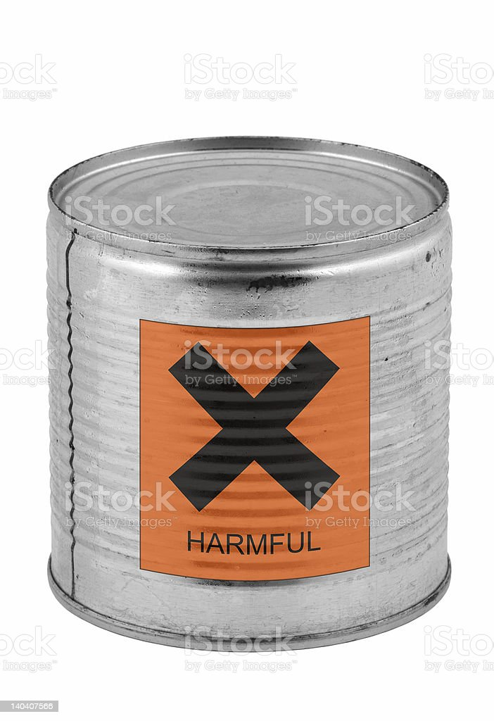 food tin can with harmful sign royalty-free stock photo