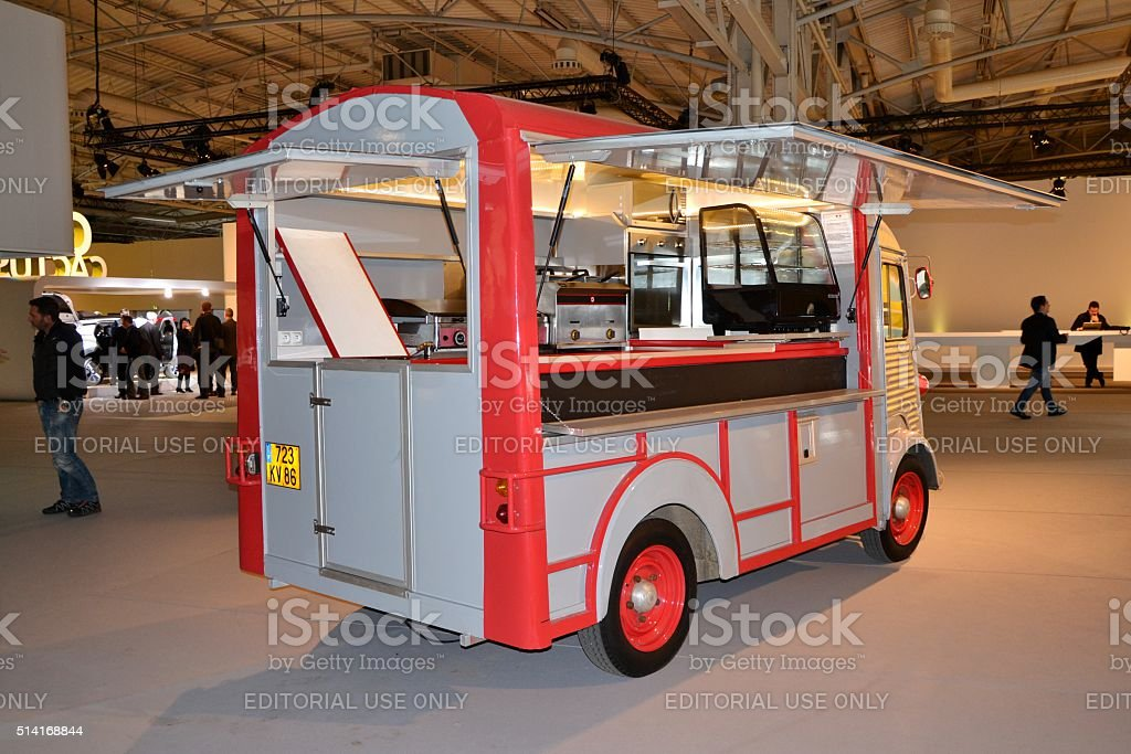 Food truck based on classic Citroen HY stock photo