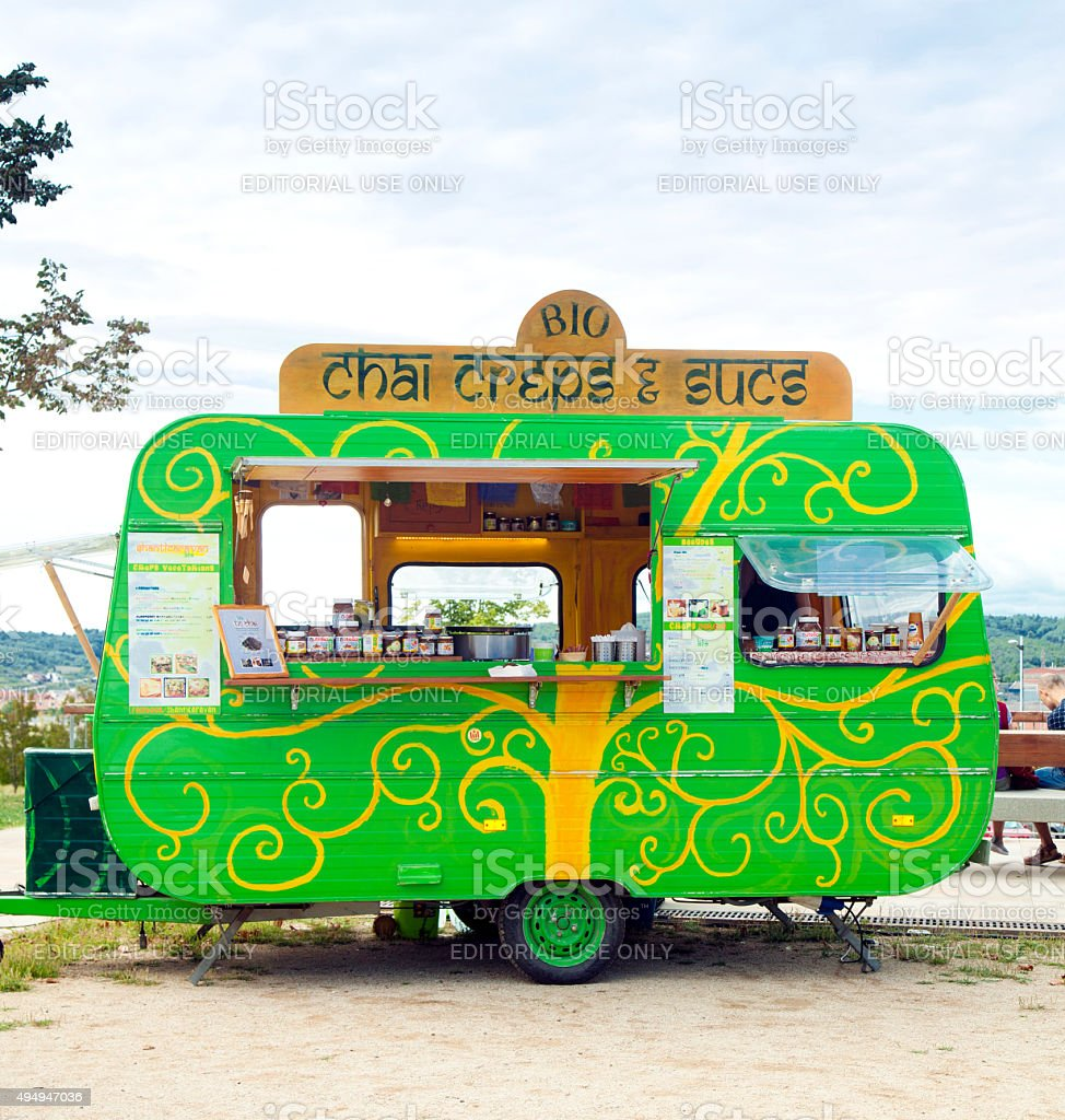 Food truck creperie stock photo