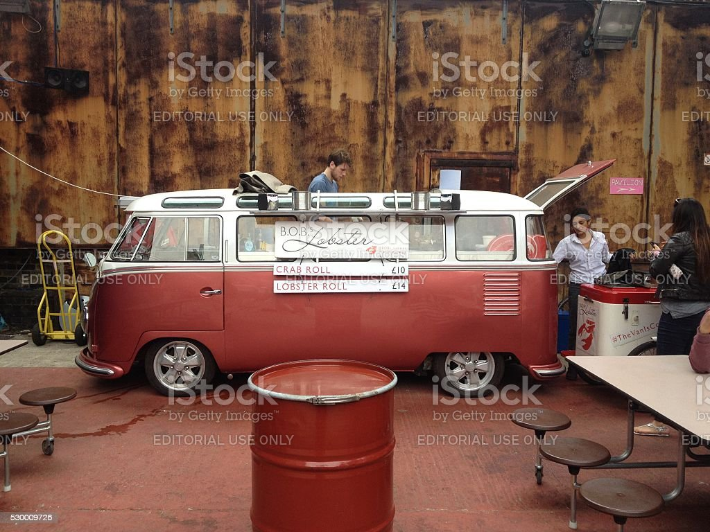 Food truck in London in a VW Bus stock photo