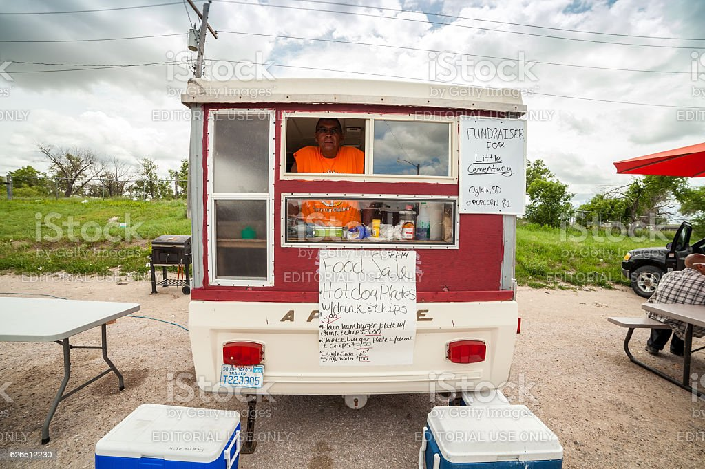 Food truck in Pine Ridge Indians Reservation, SD, USA stock photo
