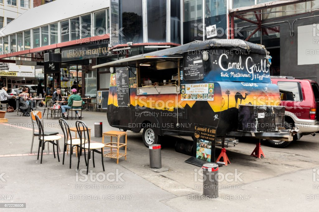 Food truck in Wellington. stock photo