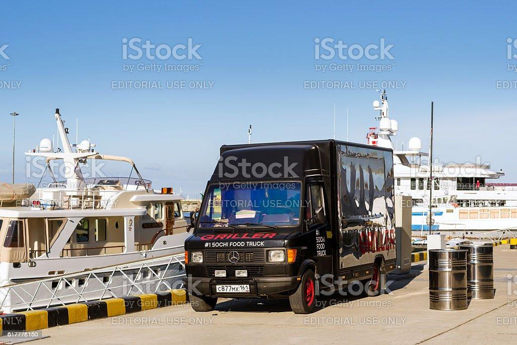 Food truck Mercedes in Sochi seaport, Russia stock photo