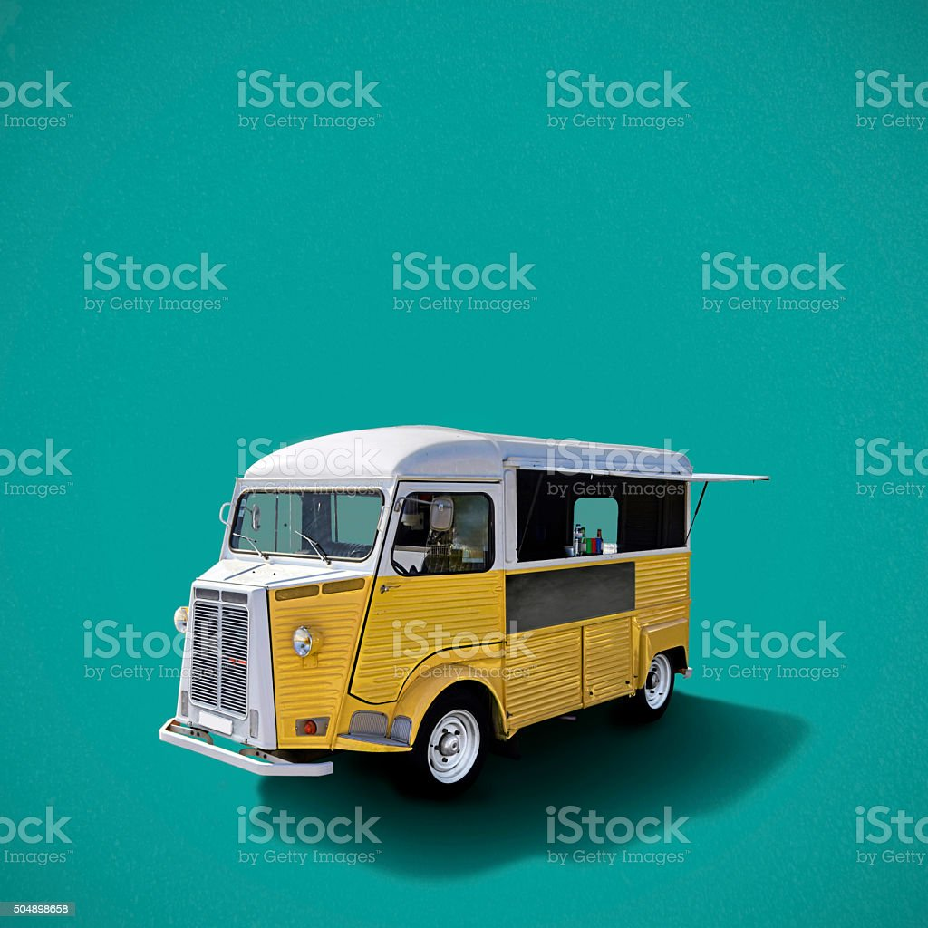 Food truck on turquoise background stock photo