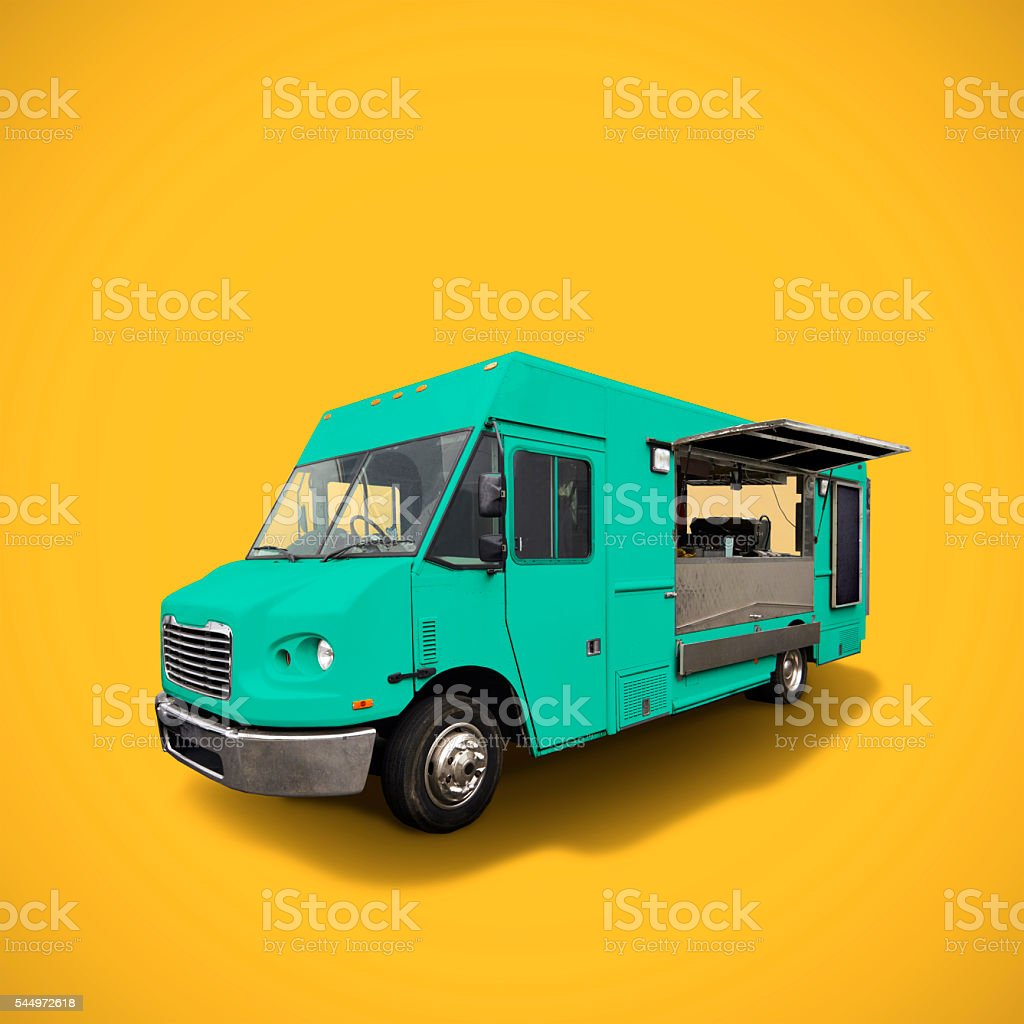 Food truck on yelow background stock photo