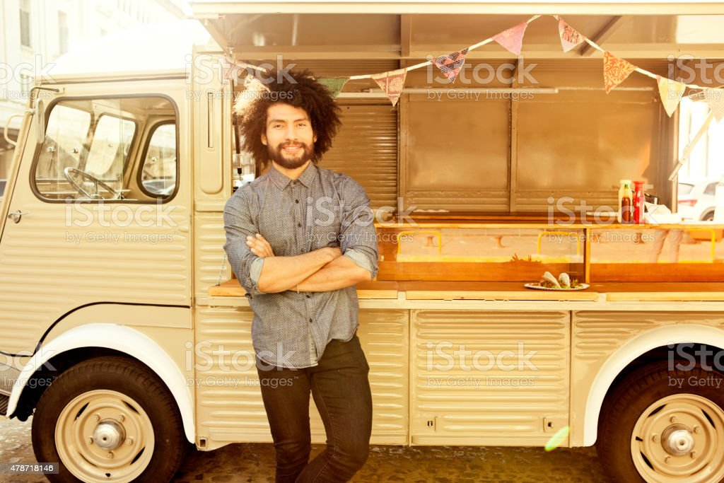Food truck owner stock photo