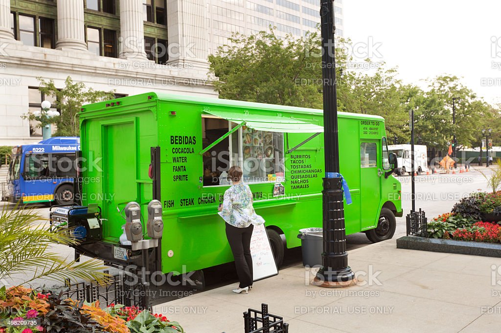 Food Truck Serving Lunch Menu in Milwaukee, Wisconsin stock photo