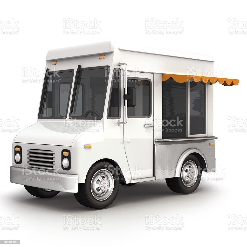 Food truck white stock photo